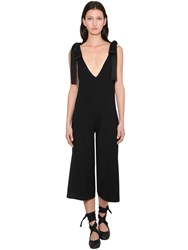 Red Valentino Virgin Wool Jumpsuit W Satin Bows Black