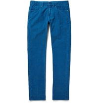 Incotex Slim Fit Corduroy Trousers Blue