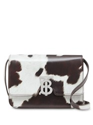 Burberry Small Cow Print Leather Tb Bag White