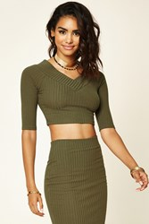 Forever 21 Ribbed Knit V Neck Crop Top