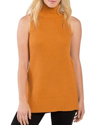 Kensie Ribbed Sleeveless Turtleneck Sweater Copper