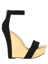 Balmain 140Mm Suede And Mirror Leather Wedges