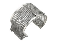 Steve Madden Cut Out Open Cuff Bracelet With Chain Bangle Rhodium Bracelet Gray