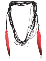 Ann Demeulemeester Wrap Around Necklace With Feathers