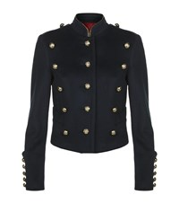 Burberry Wool Cashmere Military Jacket Female Blue