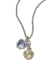 Judith Ripka La Petite Blue Quartz Canary Crystal And Sterling Silver Twin Heart Pendant Necklace Silver Multi