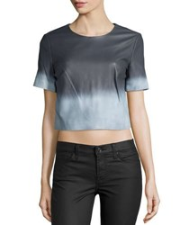 Zac Posen Alex Short Sleeve Ombre Leather Blouse White Summer Stor