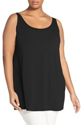Plus Size Women's Eileen Fisher Lightweight Jersey Scoop Neck Long Tank Black