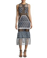 Jonathan Simkhai Sleeveless Mesh Inset Midi Dress Black White Black White
