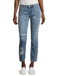 Blank Nyc Stud Destructed Return Cotton Distressed Jeans Blue