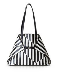 Akris Ai Striped Leather Top Handle Bag Black White Black White