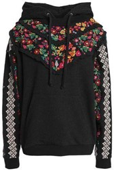 Needle And Thread Embroidered Ruffle Trimmed Cotton Blend Terry Sweatshirt Black