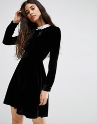 Oh My Love Velvet Skater Dress With Lace Collar Black