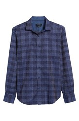 Bugatchi Men's Shaped Fit Print Sport Shirt Night Blue