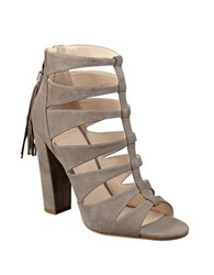 Marc Fisher Hindera T Strap Suede Sandals Taupe