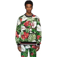 Dolce And Gabbana Green Black Anthurium Sweatshirt