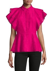 Imnyc Isaac Mizrahi Button Up Ruffle Sleeve Peplum Top Chalk