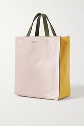 Marni Museo Small Color Block Crinkled Leather Tote Pastel Pink
