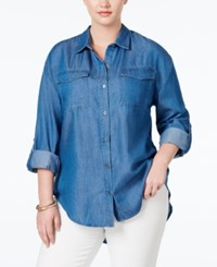 Stoosh Plus Size Chambray Utility Shirt