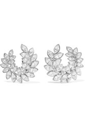 Kenneth Jay Lane Silver Tone Crystal Clip Earrings