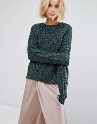 J.O.A Oversized Jumper In Cable Marl Green