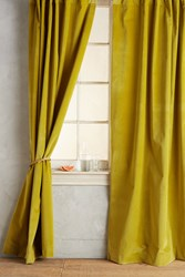 Anthropologie Matte Velvet Curtain Guacamole