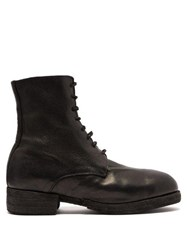 Guidi Lace Up Leather Military Boots Black