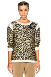 Lanvin Leopard Print Long Sleeve Top In Yellow Animal Print Metallics