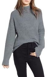 Treasure And Bond Ribbed Funnel Neck Sweater Grey Dark Heather