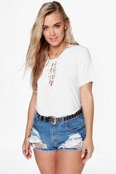 Boohoo Jessica Tie Front T Shirt White