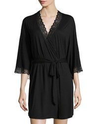 Eberjey Georgette Lace Trim Short Robe Black