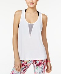Material Girl Active Juniors' Mesh Racerback Tank Top Only At Macy's Bright White