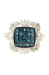Savvy Cie Pave Blue And White Diamond Deco Ring 0.50 Ctw