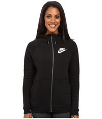 Nike Rally Full Zip Hoodie Black Black Antique Silver White Women's Clothing