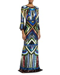 Alice Olivia Jae Embellished Keyhole Back Long Gown Multi Pattern