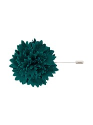 Lanvin Flower Brooch Cupro Cotton Lamb Skin Zinc Green