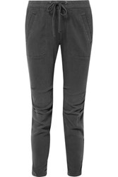 James Perse Cotton Blend Twill Track Pants Gray
