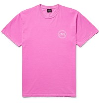 Stussy Printed Cotton Jersey T Shirt Pink