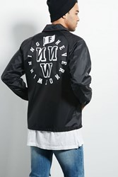 Forever 21 Franchise Graphic Coach Jacket Black