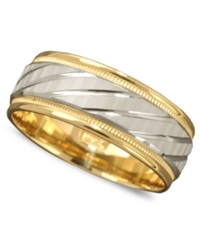 Macy's Men's 14K Gold And 14K White Gold Ring Spiral Dome Band Size 6 13