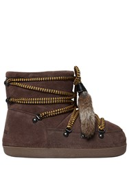 Dsquared Suede Snow Ankle Boots W Fur Tassels