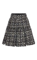 Dolce And Gabbana Pleated Tweed Miniskirt Dark Grey