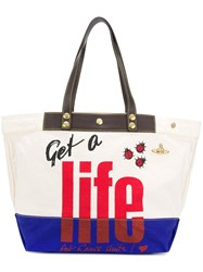 Vivienne Westwood Anglomania Get A Life Tote Bag Nude And Neutrals