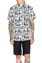 Helmut Lang Textured Twill Print Short Sleeve Shirt In Black White