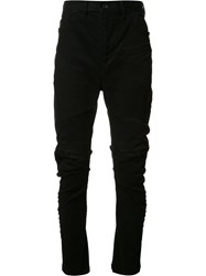 Julius Distressed Panelled Trousers Black