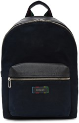 Paul Smith Ps By Navy Canvas And Leather Backpack