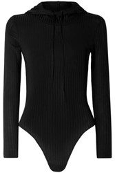 Fleur Du Mal Hooded Ribbed Knit Bodysuit Black
