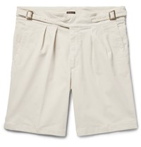 Rubinacci Manny Pleated Stretch Cotton Twill Shorts Cream