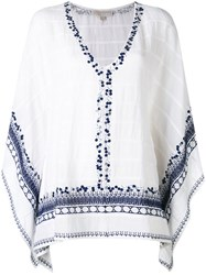 Michael Michael Kors Embroidered Sequins Tunic Women Cotton Polyester M White