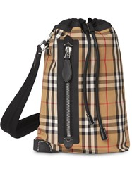 Burberry Check Cotton Duffle Backpack Yellow